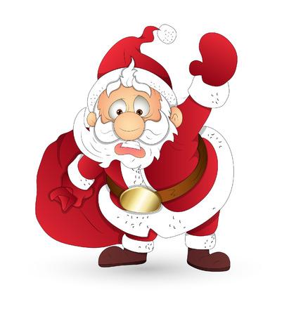 bolsa de regalo: Pap� Noel sorprendido sosteniendo la bolsa regalo Vectores