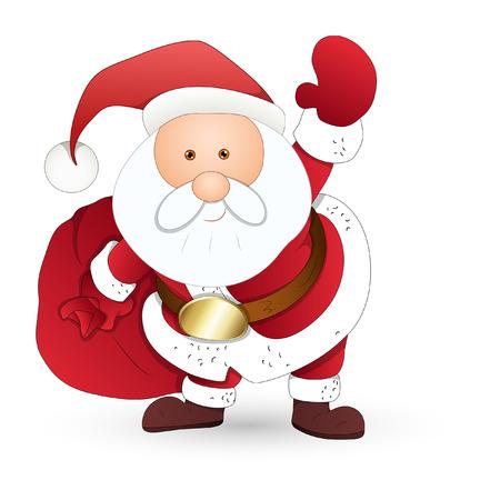 bolsa de regalo: Funny Santa Sosteniendo con bolsa de regalo