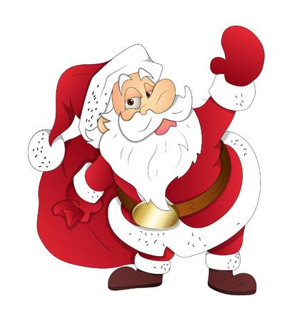 bolsa de regalo: Old Santa sostiene un bolso de regalo
