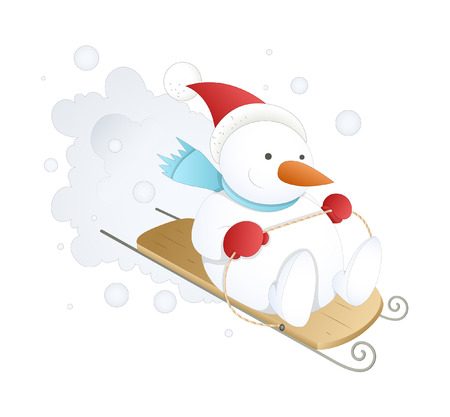 sliding: Snowman Sliding on Snow Vector Illustration