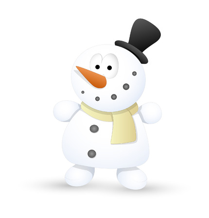 Cute Small Kid Snowman Vector