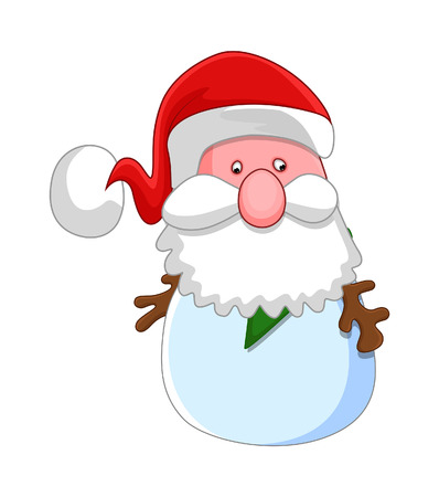 weihnachtsmann lustig: Old Santa Claus Funny Face Illustration