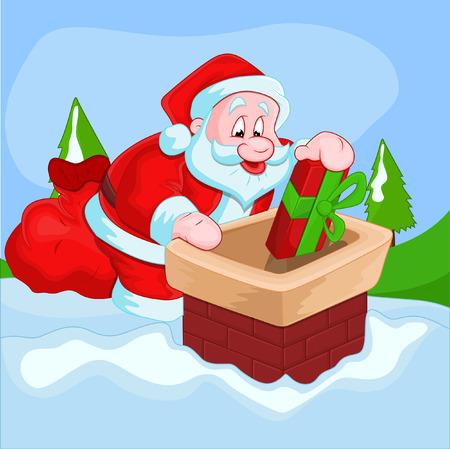 chimney: Santa Claus Dropping Gift in Chimney