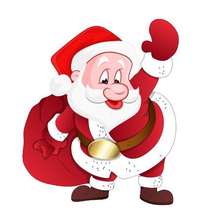 bolsa de regalo: Santa feliz con bolsa de regalo Vector Vectores