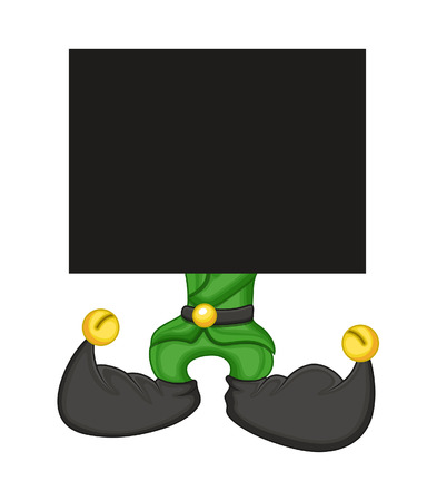 cartoon elfe: Cartoon Elf mit einem leeren Brett