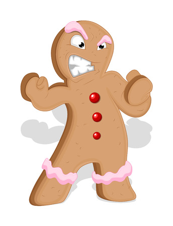 man illustration: Angry Cartoon Gingerbread Man Character
