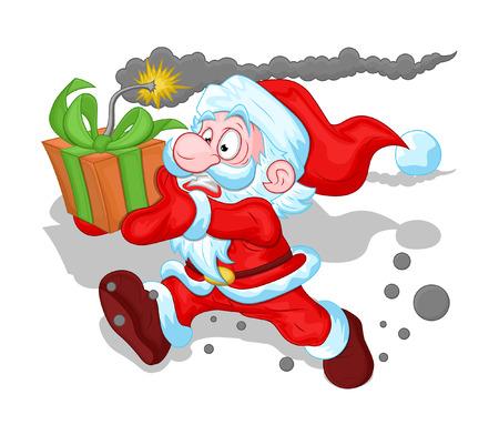 Scared Santa Running with Bomb Gift Vector Illustration