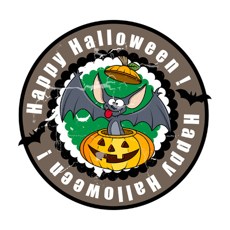 Funny Halloween Bat in Jack-O-Lantern Vector Illustration