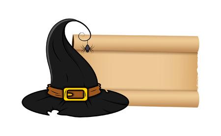 Halloween Hexenhut mit Pergament-Rolle-