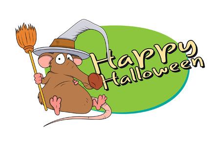 brujas caricatura: Rata de Halloween divertido con con el sombrero