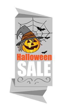 Halloween Pumpkin Paper Banner Vector