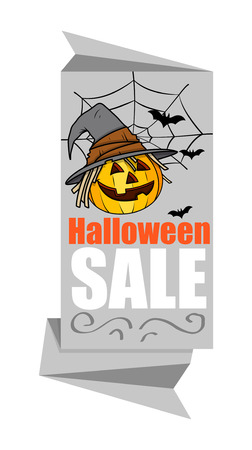 paper banner: Halloween Pumpkin Paper Banner Illustration