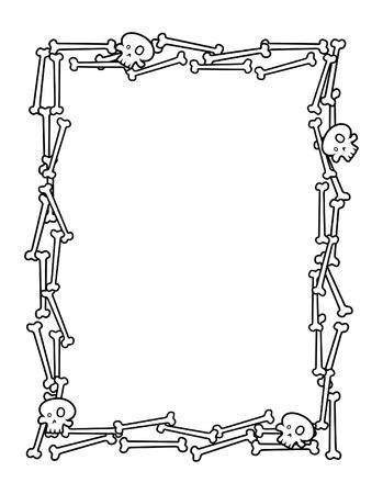 Halloween Frame Made from Bones Illusztráció