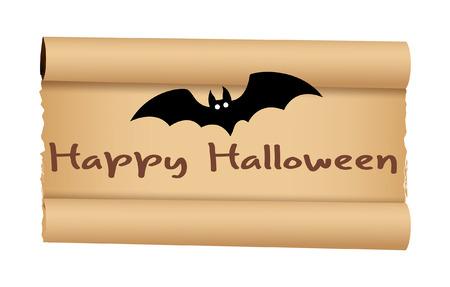 parchment paper: Halloween Bat with Parchment Paper Banner