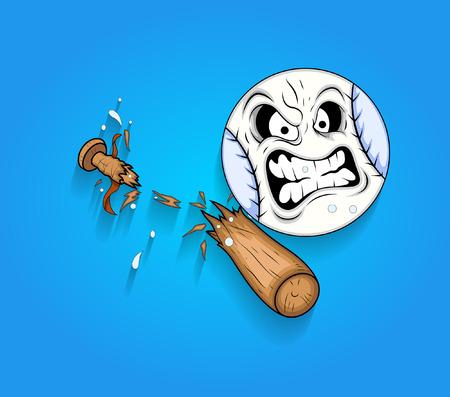 壊れた木製野球バット ベクトルで怒っているボール顔