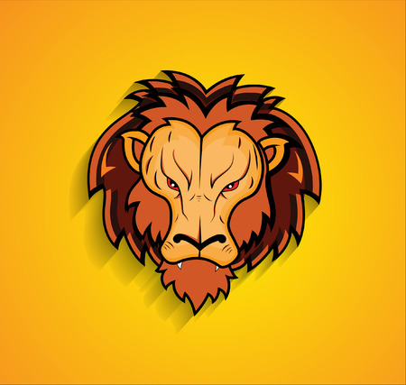 angry lion: Angry Lion Face Mascot Illustration
