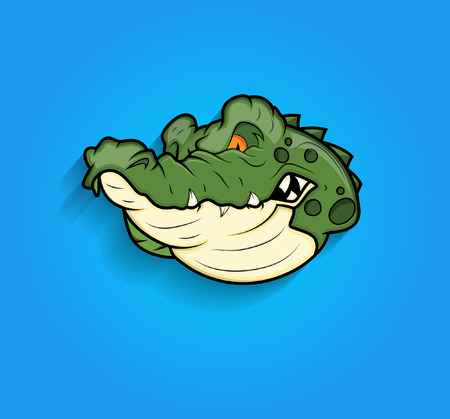 Angry Crocodile Face Expression Vector