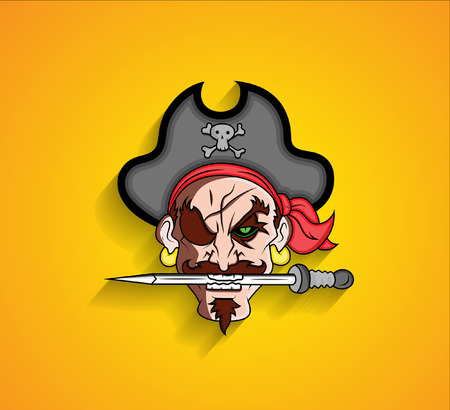 Pirate Cartoon Character Holding Sword in Mouth Vector
