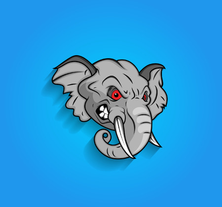elefante animado: Enojado Expresi�n Cara del elefante