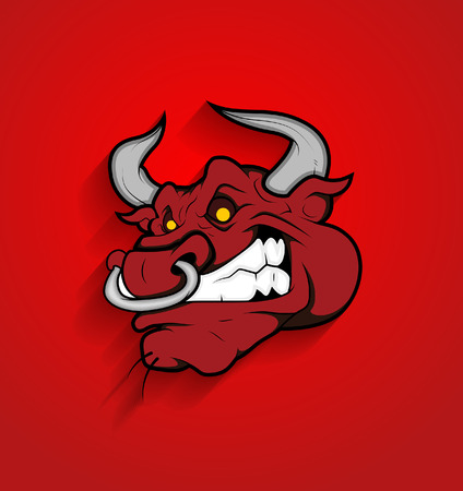 toro arrabbiato: Vector Bull Viso Mascot Angry