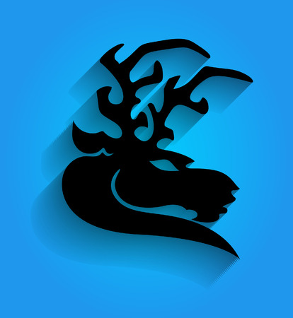 face silhouette: Mascot Reindeer Face Silhouette