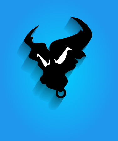 angry bull: Angry Bull Face Silhouette Mascot