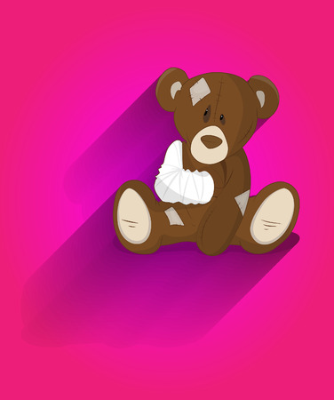 teddy bear cartoon: Cute Injured Teddy Bear Cartoon Character Illustration