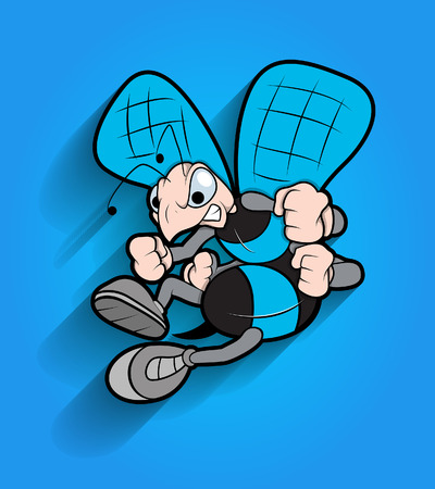 angry cartoon: Angry Cartoon Bee Animal Mascot Illustration
