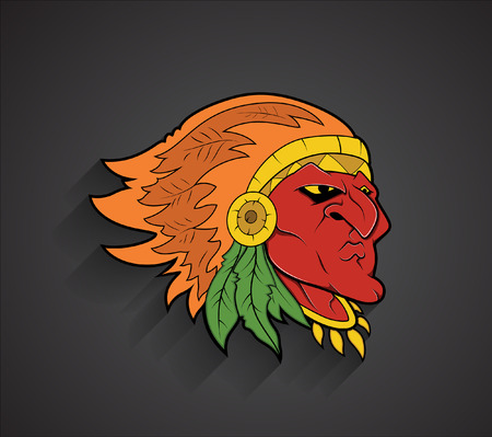 red indian: Red Indian Cartoon Face Expression