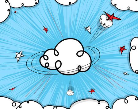 nubes caricatura: Nubes de dibujos animados de fondo Vectores