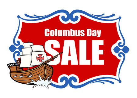 independence day america: Columbus Day Sale Banner with Sailing Boat Vector Illustration