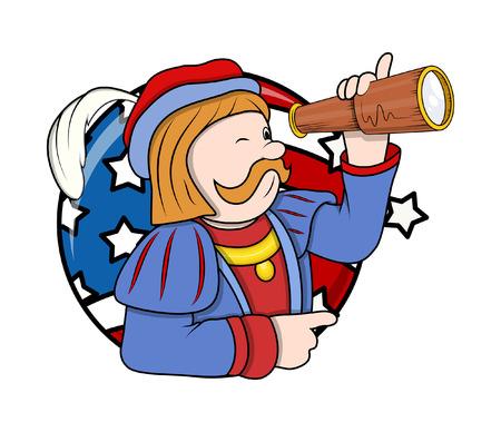 Columbus Day Cartoon Man with Binocular Vector