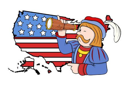 Cartoon Man With Binocular USA Map Background Royalty Free - Us map man