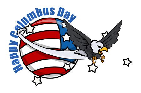 cartoon eagle: Cartoon Eagle Columbus Day Vector Graphic Illustration