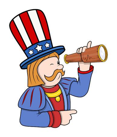 columbus: Cartoon Columbus Character with Binocular Vector Illustration