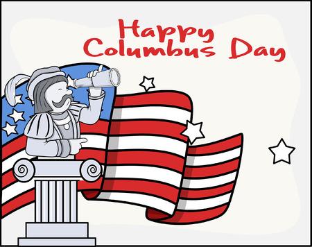 columbus: Columbus Day Cartoon Banner Gr�fico