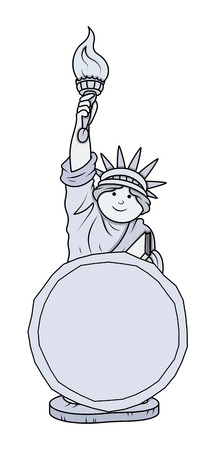 vector message: Statue of Liberty Vector Message Banner Vector