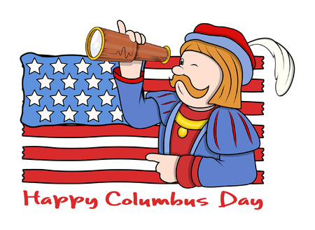 Columbus Day Man with Flag and Binocular Vector Graphic