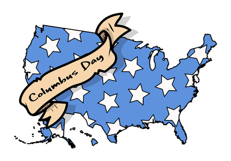 columbus: Columbus Day Retro USA Map Paper Banner Illustration
