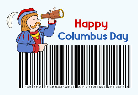 columbus: Cartoon Man with Columbus Day Barcode Graphic