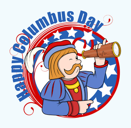 columbus: Cartoon Man with Telescope Columbus Day Graphic Banner Vector