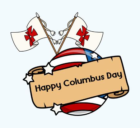 columbus: Columbus Day Flags Parchment Banner Illustration