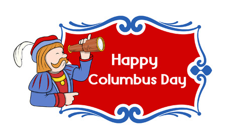 independence day america: Happy Columbus Day Cartoon Banner