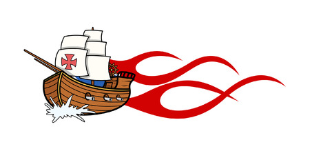 columbus: Columbus Day Sailing Boat Vector Graphic