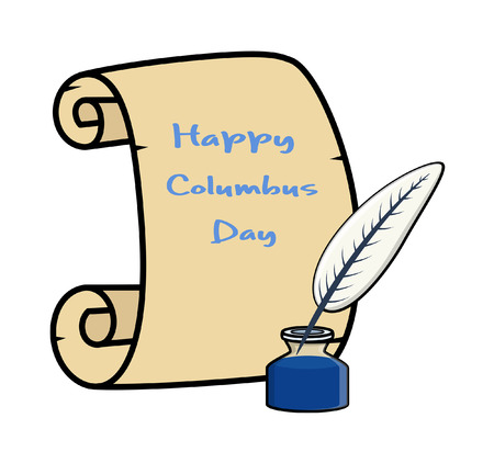 inkstand: Columbus Day Banner with Inkstand Illustration