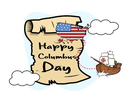 columbus: Columbus Day Parchment Banner Graphic Illustration