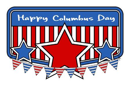 columbus: Retro Columbus Day Stars Banner Vector