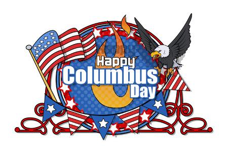 columbus: Columbus Day Retro Graphic Frame Banner