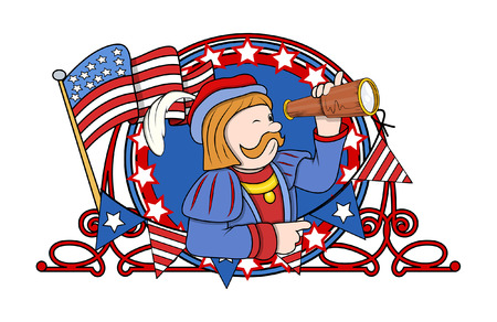 constitution day: Cartoon Man with Telescope and Retro Frame Vector