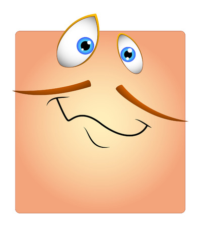 mustaches: Happy Funny Face with Mustaches Cartoon Smiley Illustration